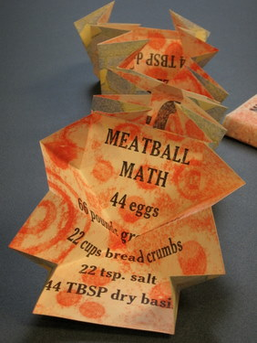 """Meatball Math"" handmade artist book by Alice Austin"
