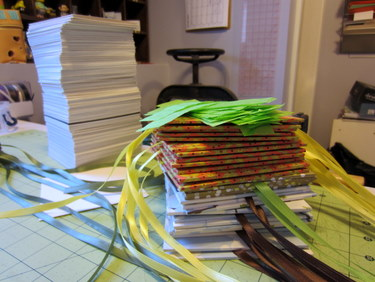 Accordion books prepped for gluing