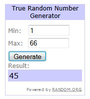 Random number generator - giveaway winner