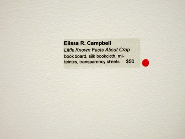 Red dot next to artwork sign - Elissa Campbell's handmade book sold!