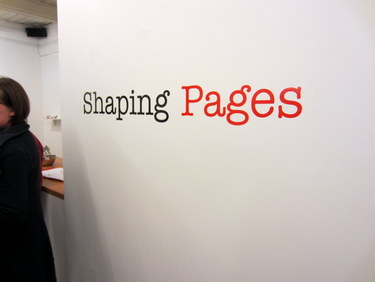 "Book Arts Guild of Vermont exhibit sign for ""Shaping Pages"""