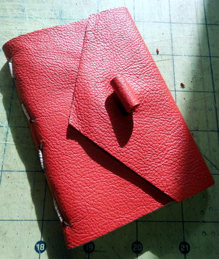 Red handmade leather journal