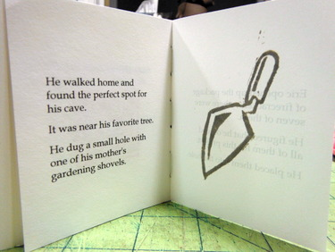 """Page spread from handmade artist book by Elissa Campbell - """"The Big Bomb"""""""