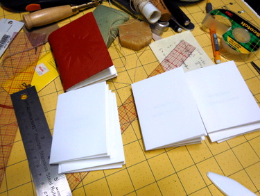 Handmade books in process