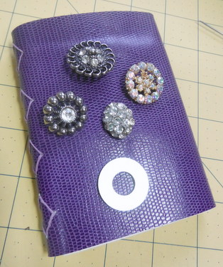 Leather journal, rhinestone buttons, metal washer