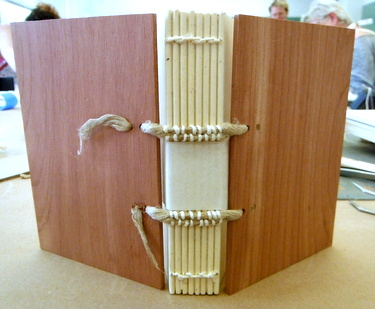 Medieval binding - completed cutaway model