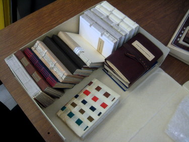 Box of historical and modern bindings
