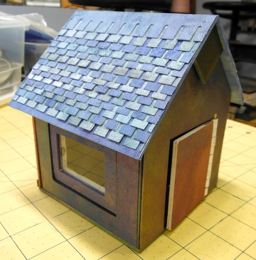 Completed mat board house