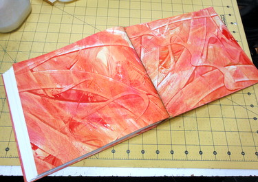 Inside of handmade paste paper photo album