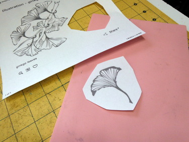 Sheet of rubber and gingko leaf clip art