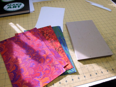 Marbled paper and bookboard