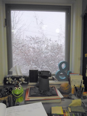 Snowy window view