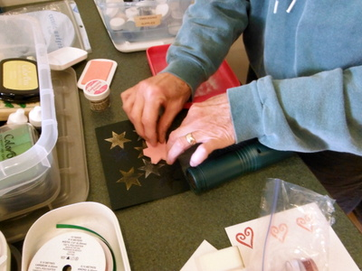 stamping with a hand-carved stamp