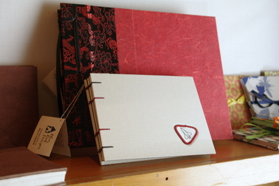 Handmade books on display by Blue Roof Designs