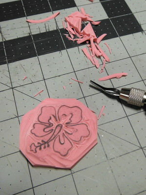 Carved rubber stamp in progress