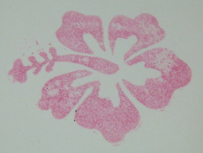 Hand-carved hibiscus flower - stamped image