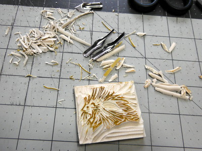 Hand-carved porcupine rubber stamp