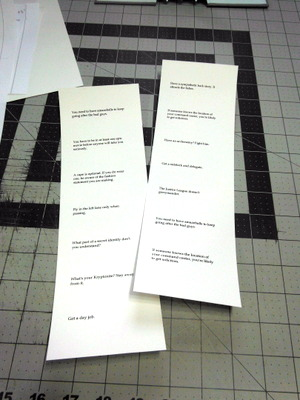 Printed text on paper for flags for flag book