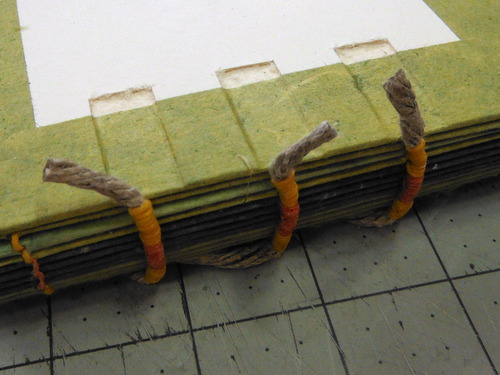 Text block sewn on cords and inside cover with carved channels