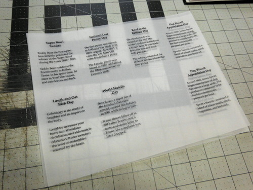 Printed sheets of laser vellum