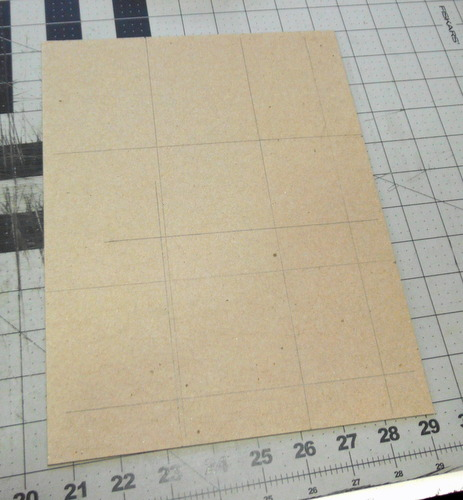 Bookboard with gridlines drawn on it