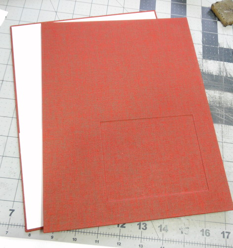 Red handmade book covers with inset