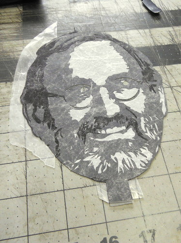 Cutting portrait out of Tyvek