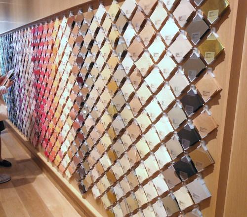 Wall of paper samples at Itoya Tokyo