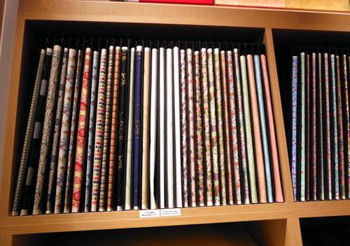 Shelf of Chiyogami papers at Itoya Tokyo