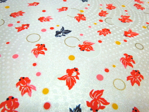 White pearlized Chiyogami paper with red and blue goldfish