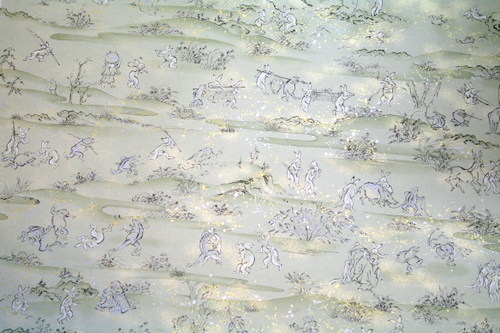 Chiyogami paper with frogs and rabbits