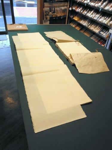 Sheets of handmade paper at Masumi, Tokyo