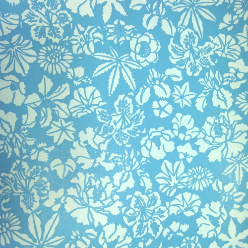 Blue letterpressed paper with flowers