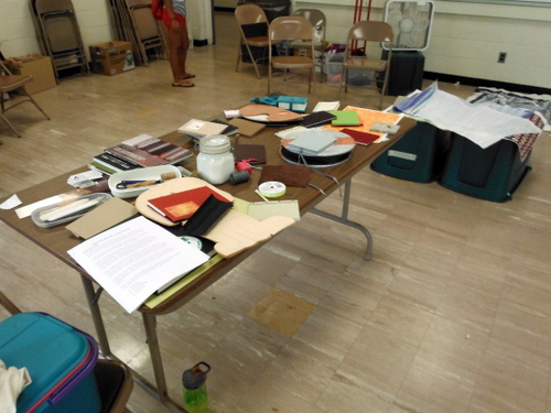 Display of handmade books and paper at T.W. Wood Art Camp