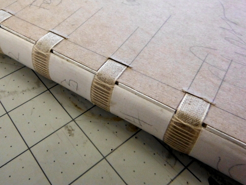 Tapes laced into the cover boards