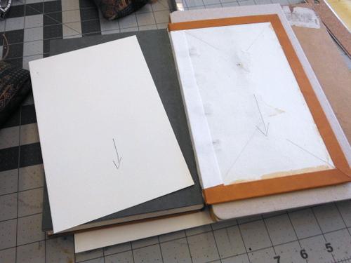 Open handbound leather book