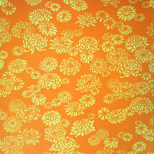 Orange letterpressed paper with flowers