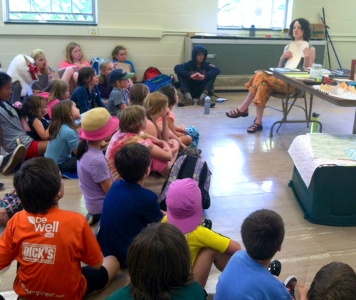Elissa Campbell talking about handmade books at T.W. Wood Art Camp