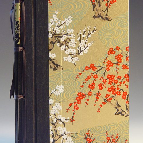 Handmade journal with cherry blossoms by Elissa Campbell of Blue Roof Designs