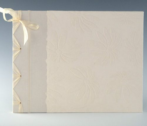 Cream Embossed Daisy guest book