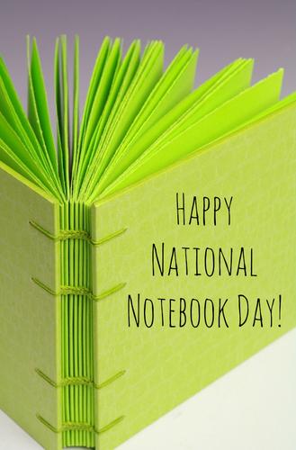 National Notebook Day written on a handmade journal