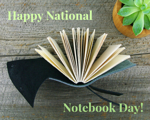 National Notebook Day image with handmade book by Blue Roof Designs